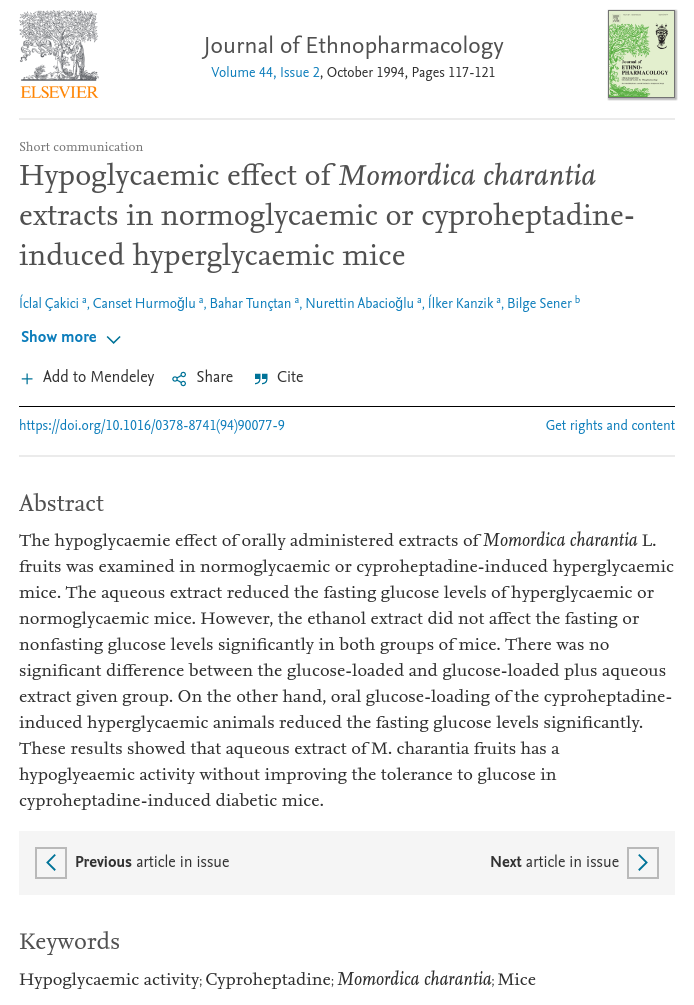 Hypoglycaemic effect of Momordica charantia extracts in normoglycaemic or cyproheptadine induced hyperglycaemic mice - ScienceDirect